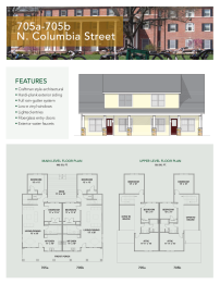 Floor plan and elevation for 705A and 705B Columbia Villas