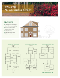 Floor plan and elevations for the 726 and 728 units at Columbia Villas